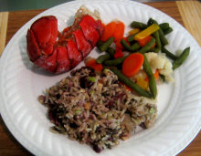 lobster tail with cranberry rice