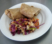 turkey wrap with coleslaw